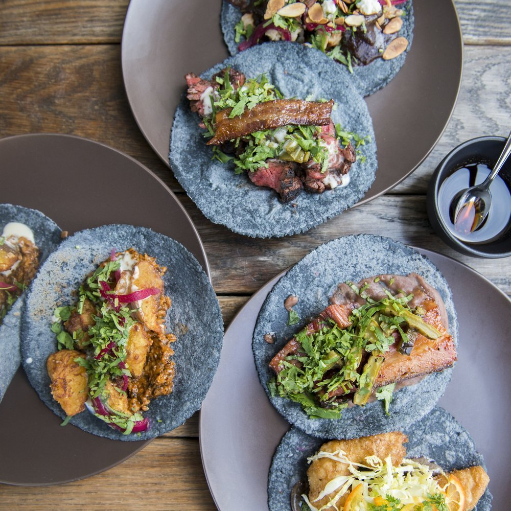 Locally sourced Californian-Mexican fare in casual, open-kitchen quarters with a patio.